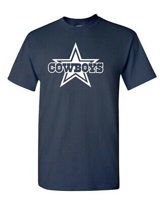 DALLAS COWBOYS Navy T-shirt  White Graphic Cotton Adult Logo S-4XL