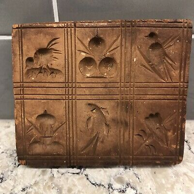Antique Rectangular Wood Butter Mold  Press Birds Fish Designs 6 Squares