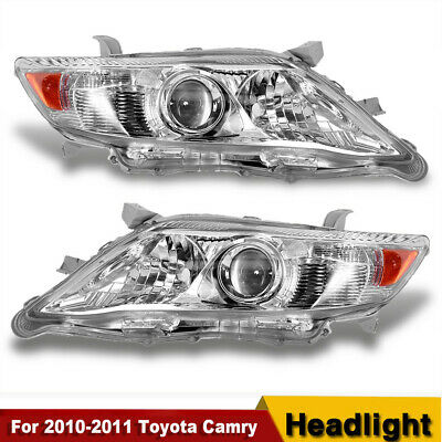 FOR 2010-2011 TOYOTA CAMRY CHROME HOUSING AMBER CORNER PROJECTOR HEADLIGHT NEW