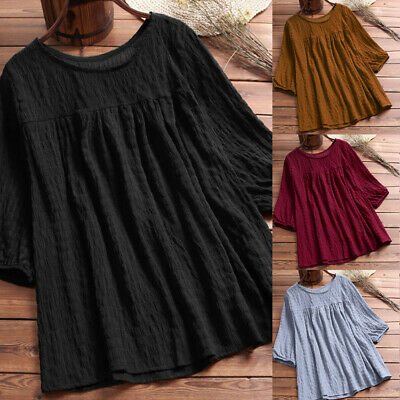 Womens 2019 Loose Solid Half Sleeve Tunic Swing Ladies Casual Tops Shirt Blouse