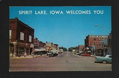 Spirit Lake Iowa IA 1960s Hill Ave Main Street Stores, Antlers Hotel, Theater &+