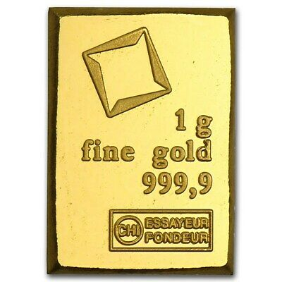 1 Gram Fine Gold Bar - Assayed -9999 Pure Fine Bullion - Valcambi Suisse Swiss