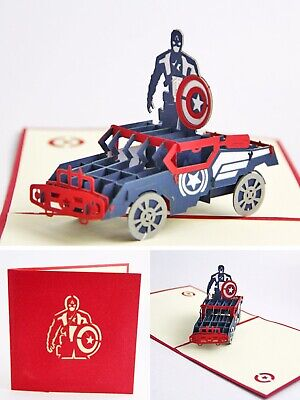 3D PopUp Greeting Card Fathers Day Superhero Avengers Captain America Spiderman