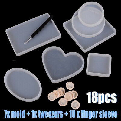 18pcs Epoxy Resin Molds For DIY Silicone Coasters Jewelry Making Mold US