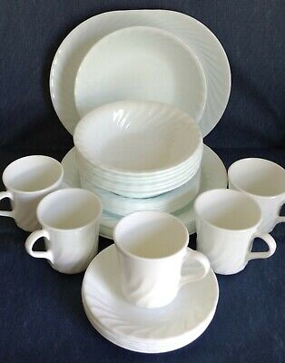 CORELLE ENHANCEMENTS  White Swirl  Buy By the Piece  Plates Bowls Mugs -