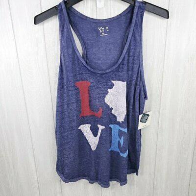 Fourth of July Americana LOVE Illinois Tank Top XL NWT