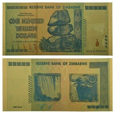 Zimbabwe 100 Trillion Dollars Gold Banknote For Collection Certificate