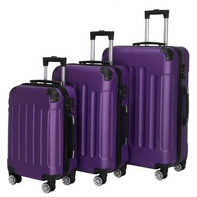 New 3X Travel Spinner Luggage Set Bag ABS Trolley Carry On Suitcase wTSA Purple