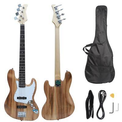 New Electric GJazz 4 Strings Bass Guitar - Cord - Wrench -Bag -Pick Woodcolor