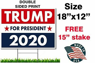 TRUMP 2020 KEEP AMERICA GREAT 18x12 YARD SIGN WITH STAKE PENCE WHOLESALE USA