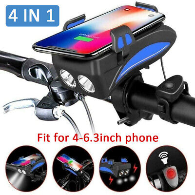 4in1 Bike Front Light Cycling Lights Bicycle Phone Holder Power Bank Flashlight