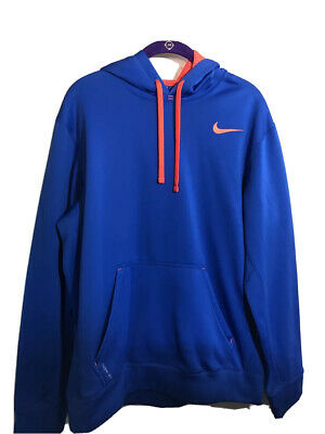 Nike Mens Therma Fit Pullover Hoodie With Pockets Royal Blue Orange Size M