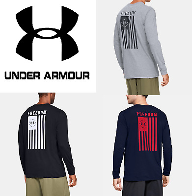 Under Armour UA Mens Long Sleeve T-Shirt Freedom Flag USA FREE SHIP - 1333369