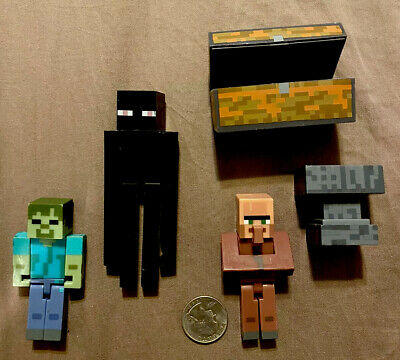 5 Lot MINECRAFT Overworld ENDERMAN Figures Series 1 2 Blacksmith Villager Zombie