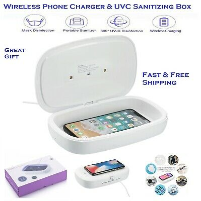 UV UVC LED Phone Virus Sanitizer Cleaner Box - QI Wireless Charger 2in1ON SALE