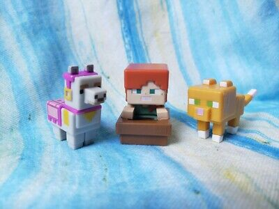 Minecraft Blind Box Mini Figure lot 10 Majong Llama Alex in boat Ocelot