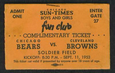 1953   CHICAGO  BEARS  VS  CLEVELAND  BROWNS  FOOTBALL  TICKET  STUB