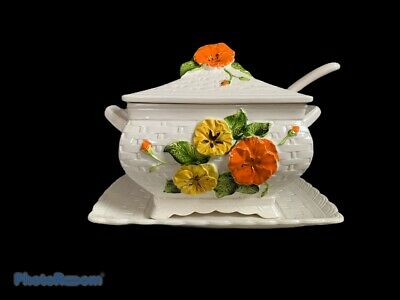 Vintage Lefton Flower Soup Tureen with Ladle and Underplate Ceramic 1960s