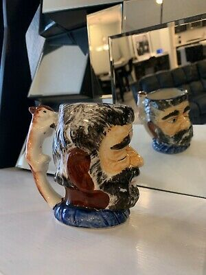 Winking Bearded Man Face Mug or Jug with Squirrel Handle- Marked Made in Japan-