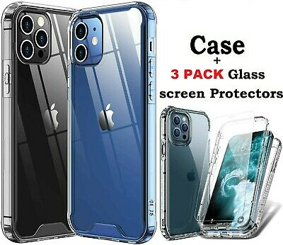 For iPhone 12 11ProMaxXSXRX87 Shockproof TPU Phone Cover-Tempered Glass