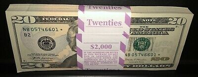 1 Twenty Dollar  Star  Note NEW 20 Crisp Bill From BEP Strap Uncirculated