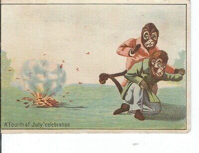 AK-216 Fourth of July Celebration Anthropomorphic Monkeys Victorian Era Card