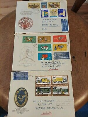 Three 1970s East DDR Germany  postal cachet covers with set stamps attached