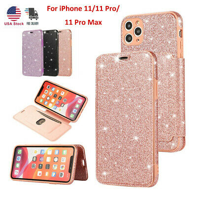 Luxury Bling Glitter Leather Flip Case Stand Wallet Cover for iPhone 11 Pro Max