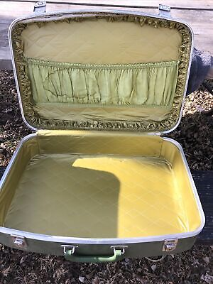 Vtg Nesting Luggage Set of 3- Avocado Green Unmarked 1960's-70s With Wear as Is