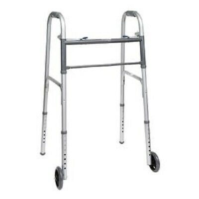 PMI Economy Two-Button Folding Steel Adult Walker With Wheels 350 lb Capacity