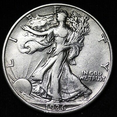 XF 1936-D WALKING LIBERTY SILVER FREE Shipping