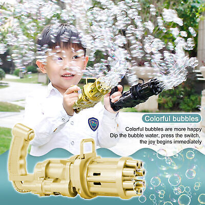 Gatling Bubble Machine Bubbler Maker Safe Summer Cooling Fan Gun For Kid Outdoor