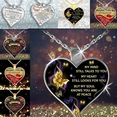 MY MIND STILL TALKS TO YOU Heart Necklace Mothers Day Gift Jewelry Memorial Hot