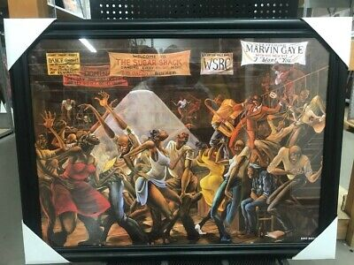 NEW BLACK FRAMED SUGAR SHACK ERNIE BARNES GOODTIMES 24x36 Poster Print Wall Art