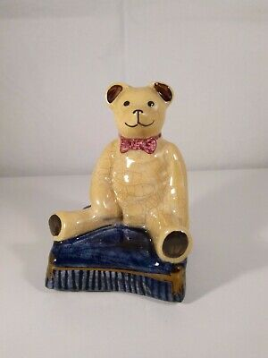 Staffordshire Teddy Bear on Pillow with Bowtie