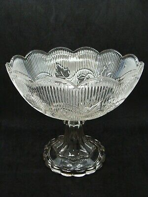 EAPG  Flint Scalloped Edge Ribbed Ivy Compote