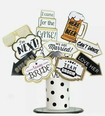Wedding Photo Booth Props Decoration Supplies 16 Pieces - Ready to Use