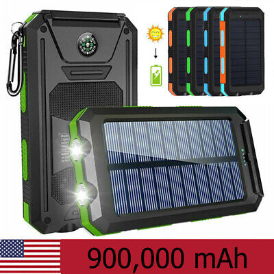 2021 Super 900000mAh USB Portable Charger Solar Power Bank For Cell Phone