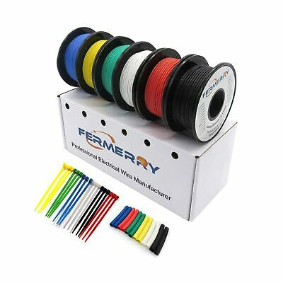 Fermerry 28AWG Silicone Stranded Wire Hook up Wire Kit 28 Gauge Electronic Ti-