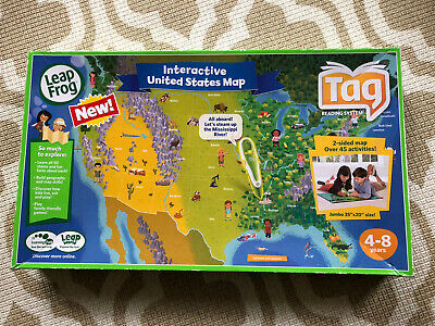 Used Good Leap Frog Tag Interactive United States Map 2-Sided Jumbo 35 x 20