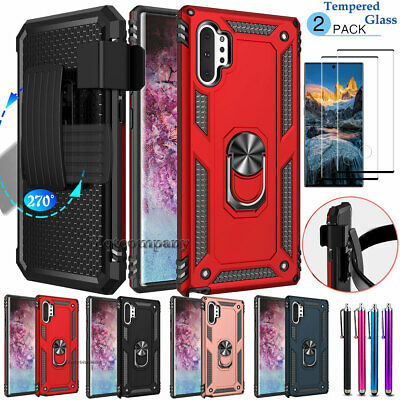For Samsung Galaxy Note 10 Plus Case Belt Clip Cover -Tempered Glass Protector