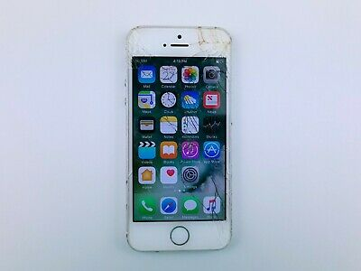 Apple iPhone 5s A1533 16GB - Silver AT-T Smartphone Cracked Clean IMEI K0982