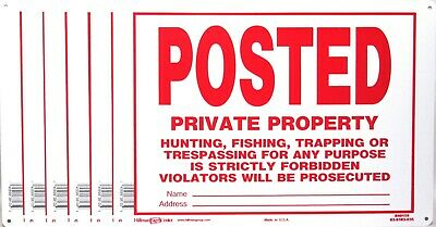 Lot of 6 POSTED PRIVATE PROPERTY- No Trespassing Metal Sign 14 x 10 NEW