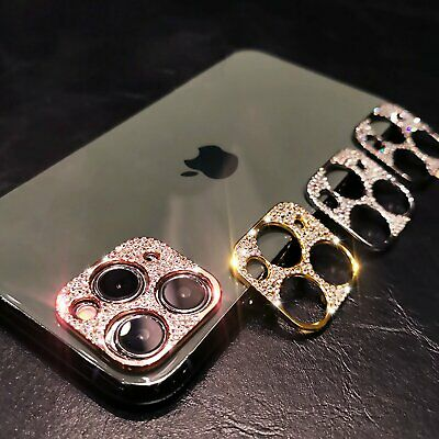 For iPhone 12 11 Pro Max Mini Diamond BLING Metal Camera Lens Protector Cover