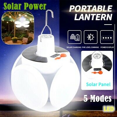 USA Solar LED Torch USB Rechargeable Night Light Outdoor Camping Lamp Emergency