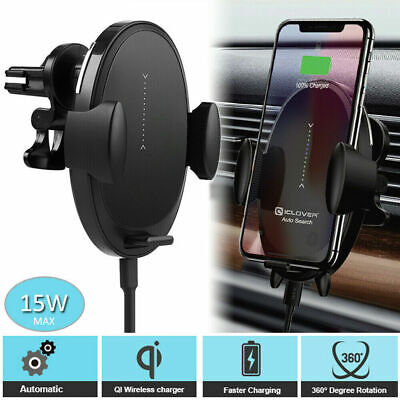 Wireless Qi Fast Charger Car Mount Holder Auto-Clamping For iPhone 1211ProMax
