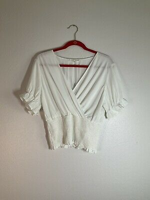 Final Touch Rayon Boho Ivory Color Women Size Large Peasant Top