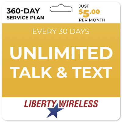 5Mo Liberty Wireless Phone Plan Unlimited Talk - Unlimited Text Yearly