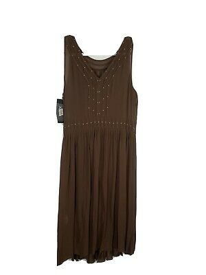 dkny 100 Silk Brown Beaded Dress NWT Size 14 Cocktail Wedding Special Occasion-