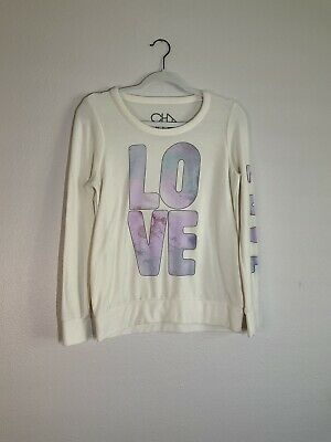 Chaser Cream Super Soft LOVE Graphic Long Sleeve Sweatshirt Size Small
